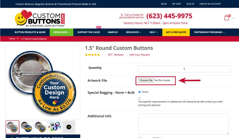Uploading artwork to an online order using the upload artwork button