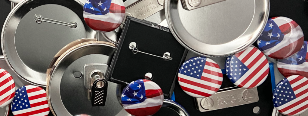 Different types of button backings, showing an American flag design