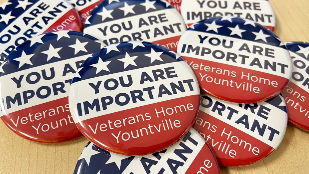 Buttons reading You are Important Veterans Home Yountville