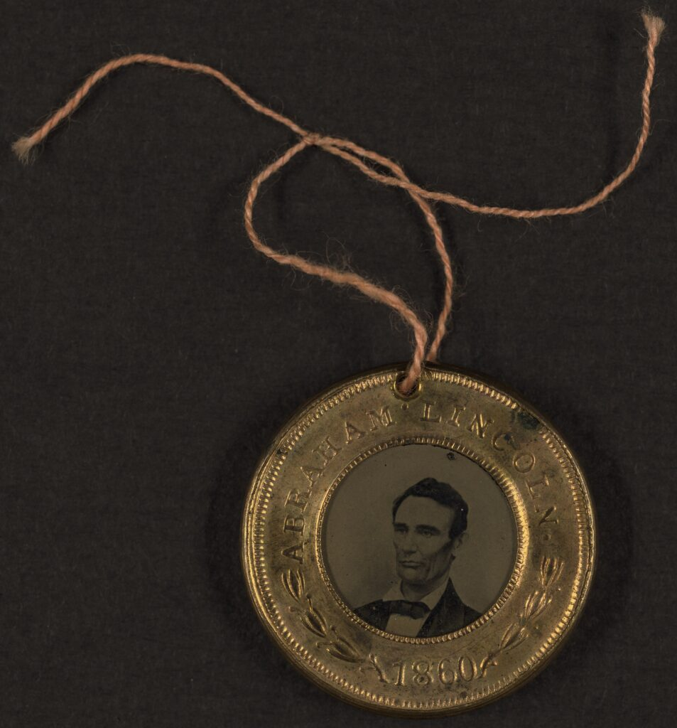 Photo of Abraham Lincoln political button
