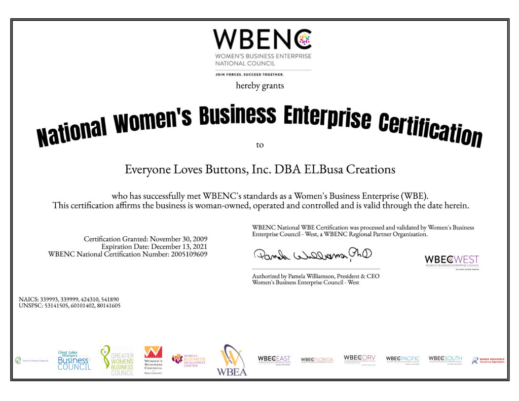 National Women's Business Enterprise Certification for Everyone Loves Buttons