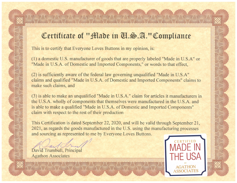 Certificate showing Everyone Loves Buttons® provides American made custom buttons.