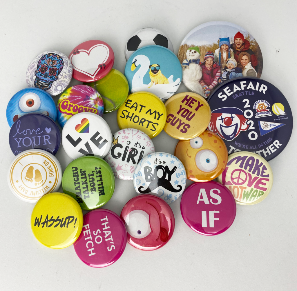 A variety of buttons with different designs showing the potential buttons have.