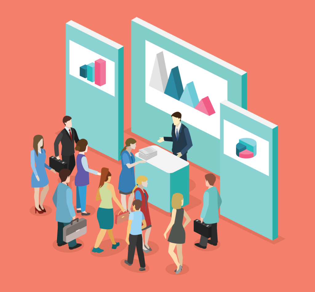 A graphic of someone working a booth at a trade show with a small crowd around them.