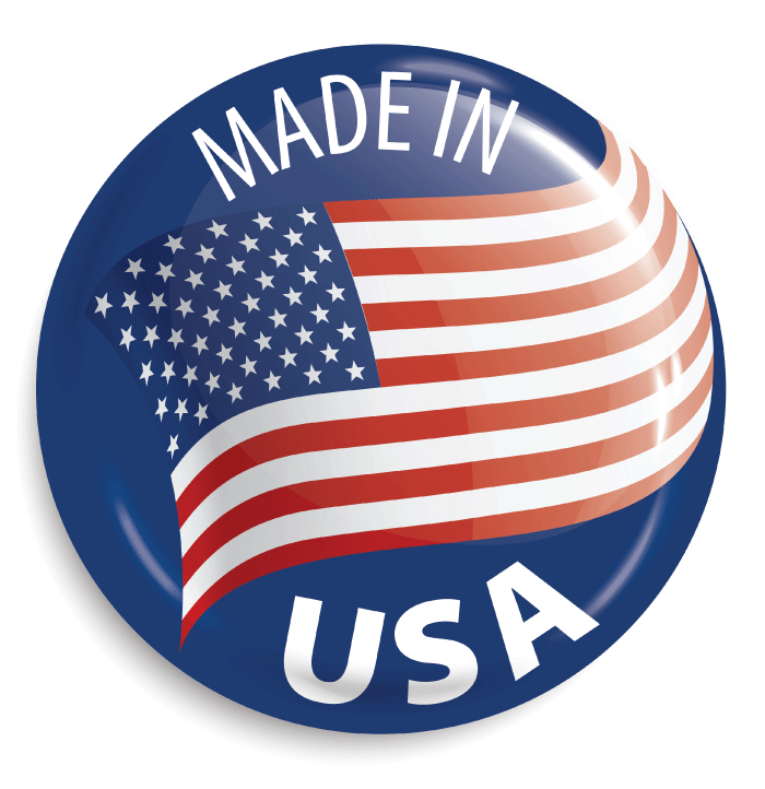 """A render to a button that says """"Made In USA"""" with the US flag on it."""