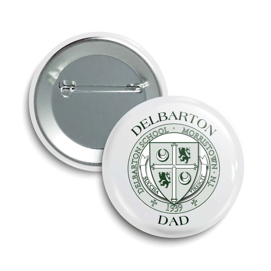 a button with a school crest and the school name with dad