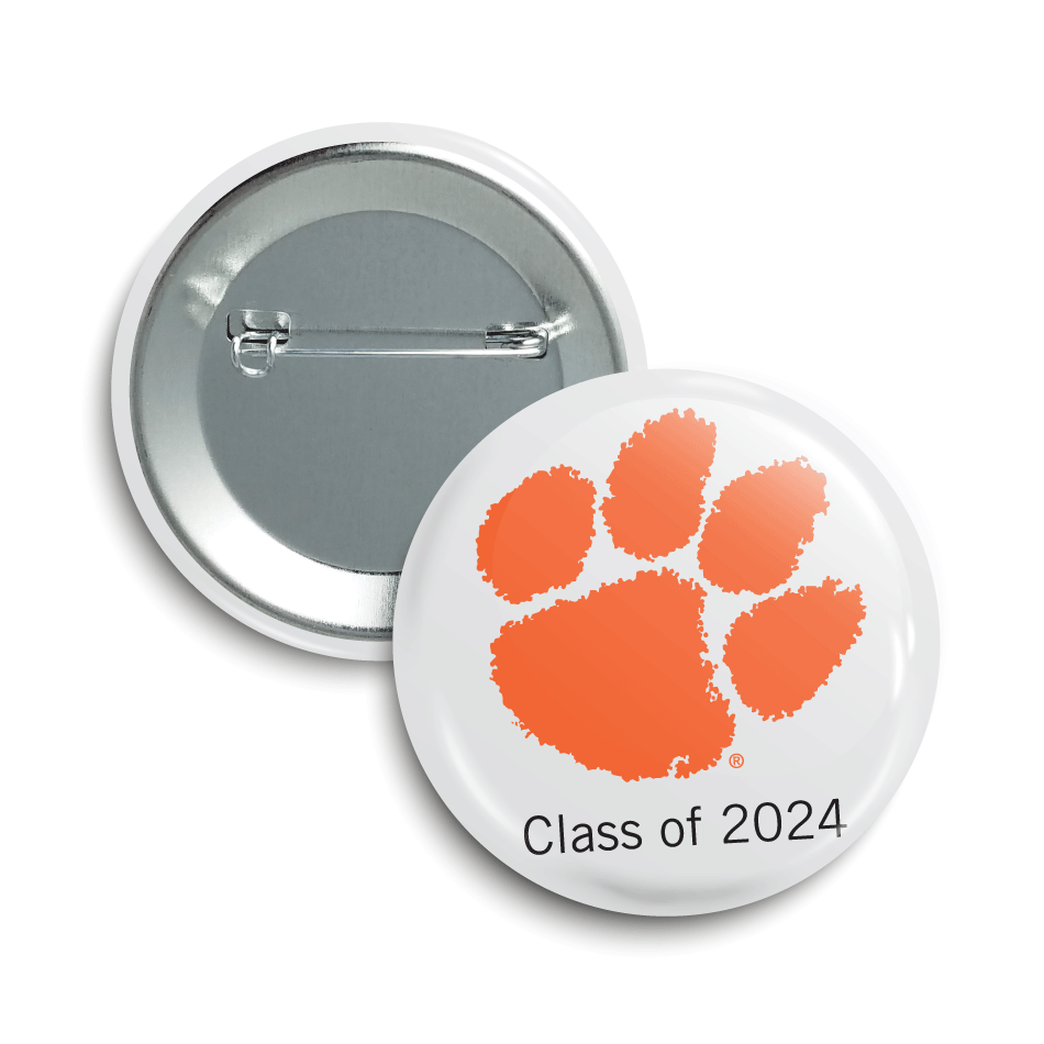 """Clempson paw print logo with text saying """"Class of 2024"""""""