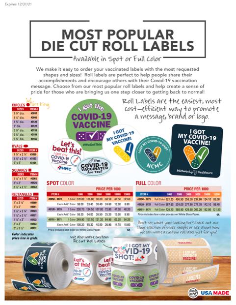 Order Covid die cut roll labels